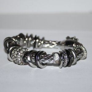 Beautiful silver and rhinestone magnetic bracelet
